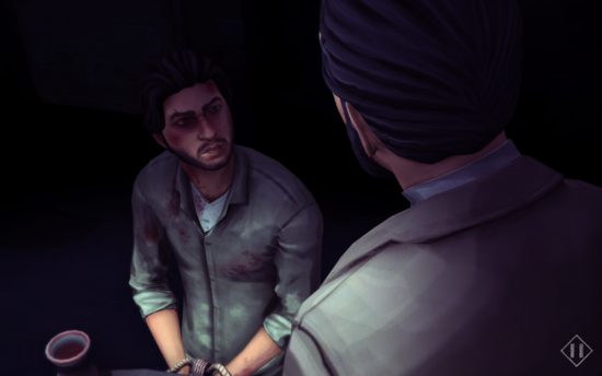 The player character is sitting, with his hands tied, and blood on his face and clothes. A dark-haired man looks down to him.