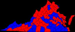 United States Senate election in Virginia, 1982 - Image: 1982 virginia senate election map