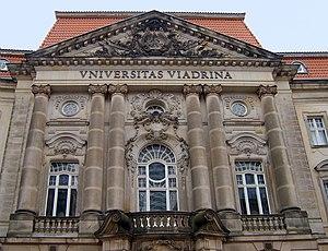 Viadrina European University - The front portal of the main building of the Viadrina