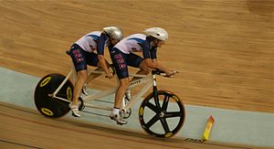 Cycling at the 2008 Summer Paralympics - Karissa Whitsell and Mackenzie Woodring (pilot) compete in Beijing on 7 September 2008.