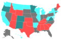 2008 United States Senate Election by Change of the Majority Political Affiliation of Each State's Delegation From the Previous Election.png