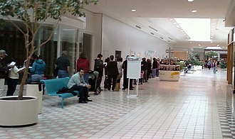 2009 flu pandemic vaccine - 2,500 people line up in a mall in Texas City, Texas to receive the H1N1 vaccine from the Galveston County Health Department on 30 October 2009.
