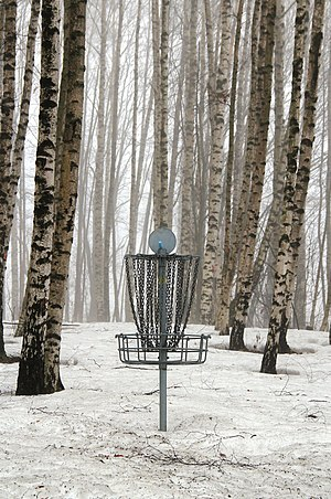 Disc golf basket from Alnaparken disc golf cou...