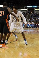 20130316 IHSA 4A consolation game Sterling Brown.jpg