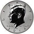2014-W 50th anniversary Kennedy half dollar reverse proof obverse.jpg