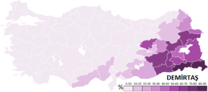 Selahattin Demirtaş - Votes obtained by Demirtaş throughout the 81 Provinces of Turkey in the 2014 presidential election