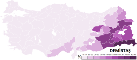 Votes obtained by Demirtas throughout the 81 Provinces of Turkey in the 2014 presidential election 2014 Turkish Presidential Election-Demirtas.PNG