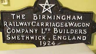 Birmingham Railway Carriage and Wagon Company - BRCW makers plate, on display in Thinktank, Birmingham Science Museum