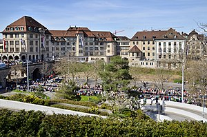 Oetenbach nunnery - The Sihlbühl respectively Uranianstrasse area towards the Waisenhaus Zürich building.