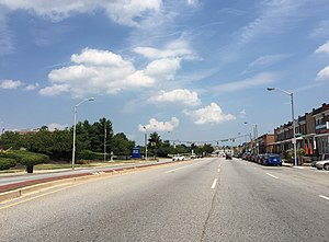 Maryland Route 150 - MD 150 eastbound along Eastern Avenue in Baltimore