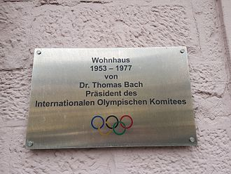 Thomas Bach - Sign at the house of Thomas Bach from 1953-1977 at the Sonnenplatz in Tauberbischofsheim