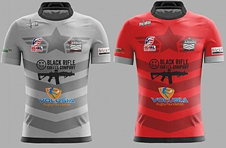 Central Florida Warriors - Grey Jersey is the Warriors Alternate Jersey, while the Red is the Primary