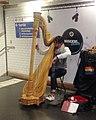 2018 Paris Metro harpist at Chatelet station between no. 1 and no. 4 lines.jpg