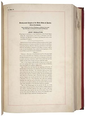 Twentieth Amendment to the United States Constitution - Page 1 of joint resolution submitting the Twentieth Amendment for ratification (source: National Archives)