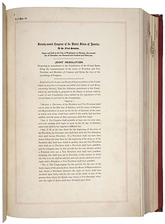 Twentieth Amendment to the United States Constitution - Image: 20th Amendment Pg 1of 2 AC
