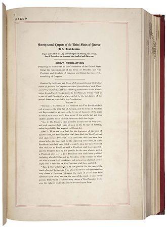 Twentieth Amendment to the United States Constitution - Image: 20th Amendment Pg 1of 2 AC