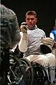 221000 - Wheelchair Fencing Michael Alston pre game - 3b - Sydney 2000 photo.jpg
