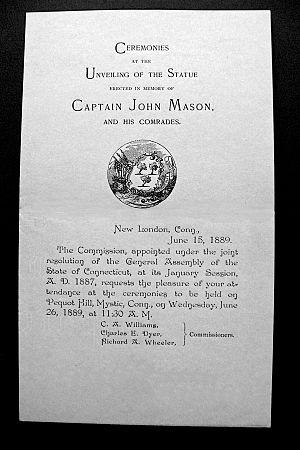 John Mason (c. 1600–1672) - 1889 Unveiling Invitation