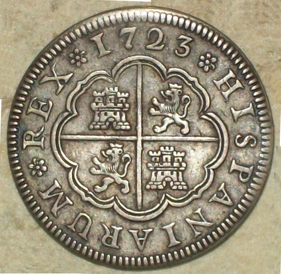 "2 Reales (Plata) de Felipe V con ""ceca"" de Segovia 1723"