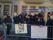 Protesters New York City at the March 15, 2008 Project Chanology international protest against Scientology Image: Rankun.