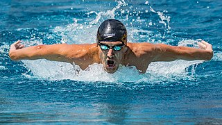 Butterfly stroke swimming stroke swum on the breast, with both arms moving simultaneously
