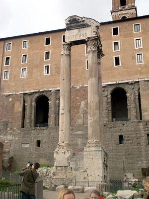 The Temple of Vespasianus in Rome, belonging t...