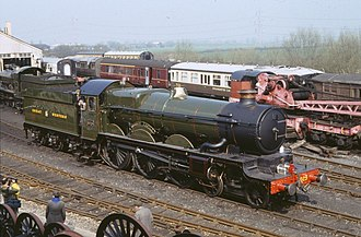 GWR 4073 Class 5029 Nunney Castle - 5029 Nunney Castle seen in preservation at Didcot Railway Centre in the 1980s.