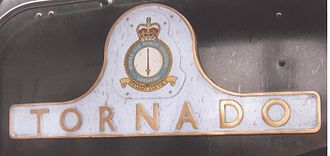 LNER Peppercorn Class A1 60163 Tornado - Tornado left hand nameplate at York station in May 2009 showing the badge of RAF Leeming in Yorkshire, where RAF Tornado F3s were based until the previous month