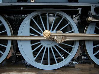 One of six 6 ft 8 in (2.03 m) driving wheels belonging to 60163 Tornado 60163 Tornado wheel.JPG