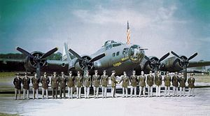 1st Bombardment Wing - 92d Bombardment Group senior Pilots pose in front of Boeing B-17F 42-30455 at RAF Alconbury, England, after a successful mission to Hülser Berg Germany in late June 1943. Equipped with radar, this aircraft flew several missions as the lead aircraft of the group.