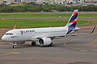 LATAM Airlines Group - A LATAM Brasil Airbus A320neo at Salgado Filho International Airport in 2016.