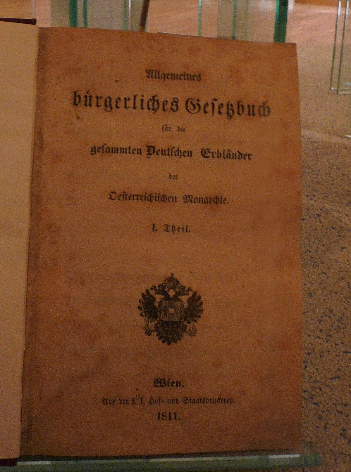 Allgemeines Bürgerliches Gesetzbuch Wikipedia