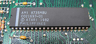 ANTIC - Atari ANTIC microprocessor on an Atari 130XE motherboard