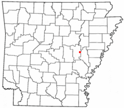 Location of Fredonia (Biscoe), Arkansas
