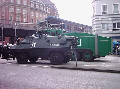 German police deploy an armoured riot control vehicle at a demonstration in Hamburg. ASEM-Demonstration Hamburg 006.jpg