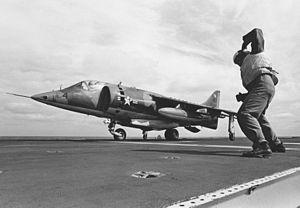 AV-8A VMA-513 taking off from USS Guam (LPH-9) 1972.jpeg