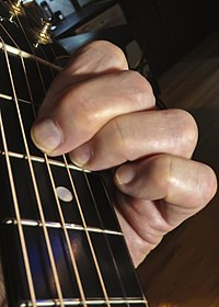 A crossed guitar finger chord