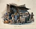 A man is cooking on an open fire under a large awning in the Wellcome V0039662.jpg