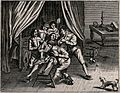 A man is held down by four men in a bedchamber while a man c Wellcome V0041739.jpg