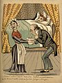 A physician examines a patient's bedpan; he is very pleased; Wellcome V0011807.jpg