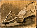 A reclining male nude clasping his hands above his head. Bla Wellcome V0048977.jpg