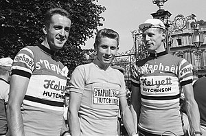 Saint-Raphaël (cycling team) - Saint-Raphaël–Helyett–Hutchinson riders Albertus Geldermans, Jacques Anquetil and Michel Stolker at the 1962 Tour de France