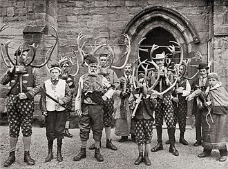 Abbots Bromley Horn Dance - The dancers, c. 1900