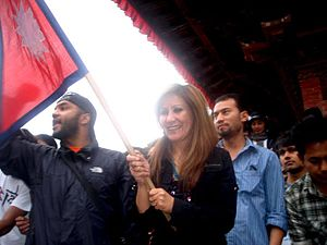 Abhaya Subba - Abhaya during a local protest program, along with Shreedeep Rayamajhi (Activist)