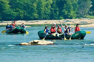 Chattahoochee River - Visitors on rafts, canoes and kayaks in the Chattahoochee River