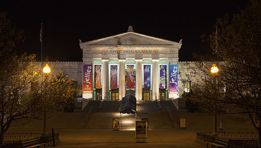 Night shot of the entrance of the Shedd Aquarium, Chicago, Illinois, USA