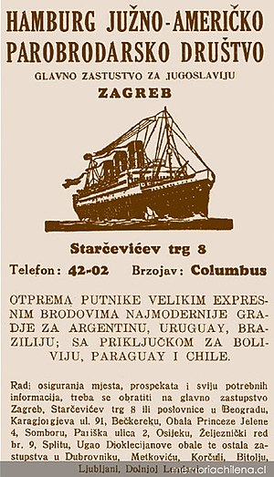 Croatian diaspora - 19th Century ad-poster of Croatian ship ready to travel to South America.