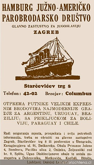Demographics of Croatia - A 1930s ad for shipping lines to South America