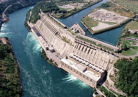 The Sir Adam Beck Generating Complex at Niagara Falls, Canada, includes a large pumped-storage hydroelectricity reservoir. During hours of low electrical demand excess electrical grid power is used to pump water up into the reservoir, which then provides an extra 174 MW of electric power during periods of peak demand. Adam Beck Complex.jpg