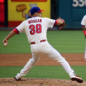 Adam Morgan on June 27, 2015 (game was postponed after a rainstorm in the 2nd inning).jpg